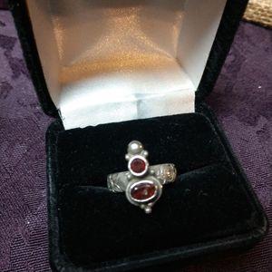 Handmade sterling silver garnet ring earring OOAK
